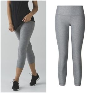 Lululemon Wunder Under Crop in Heathered Slate